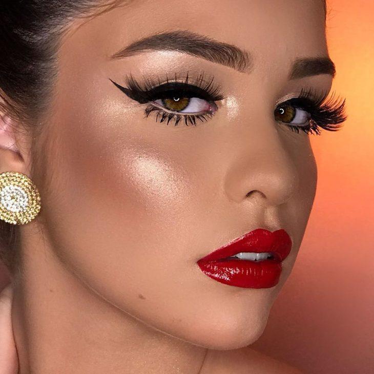 maquiagem com batom vermelho 9