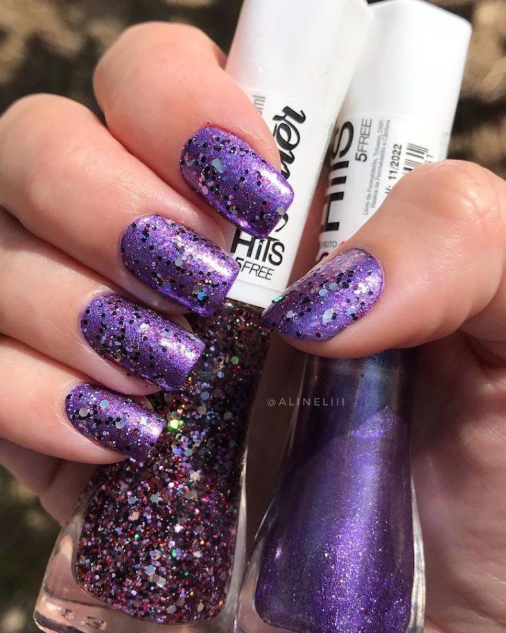 Unhas com glitter: 45 maneiras de arrasar no visual - 39