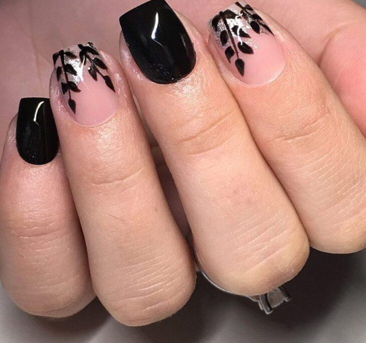 unhas pretas decoradas 73