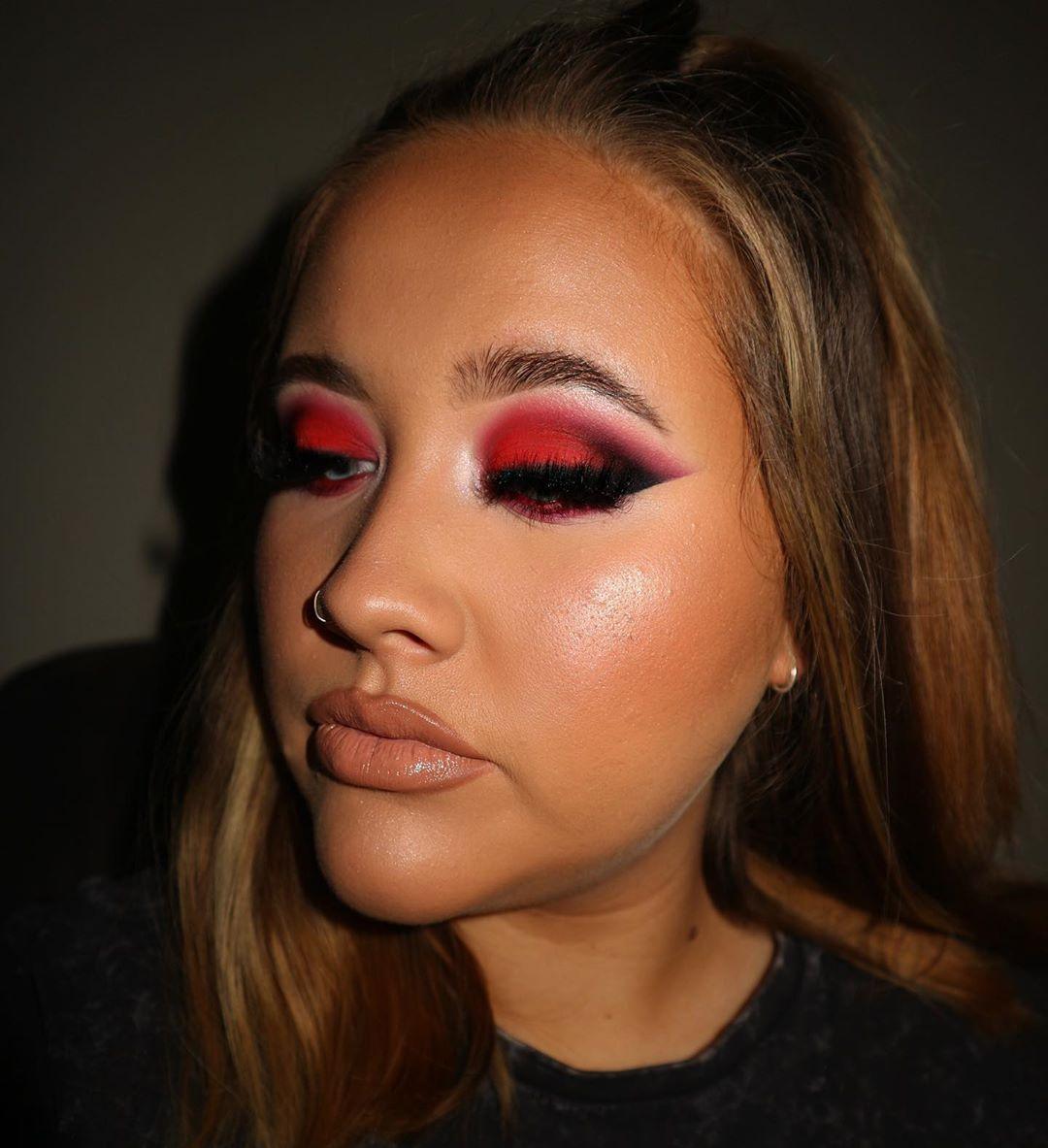 maquiagem com sombra vermelha 15