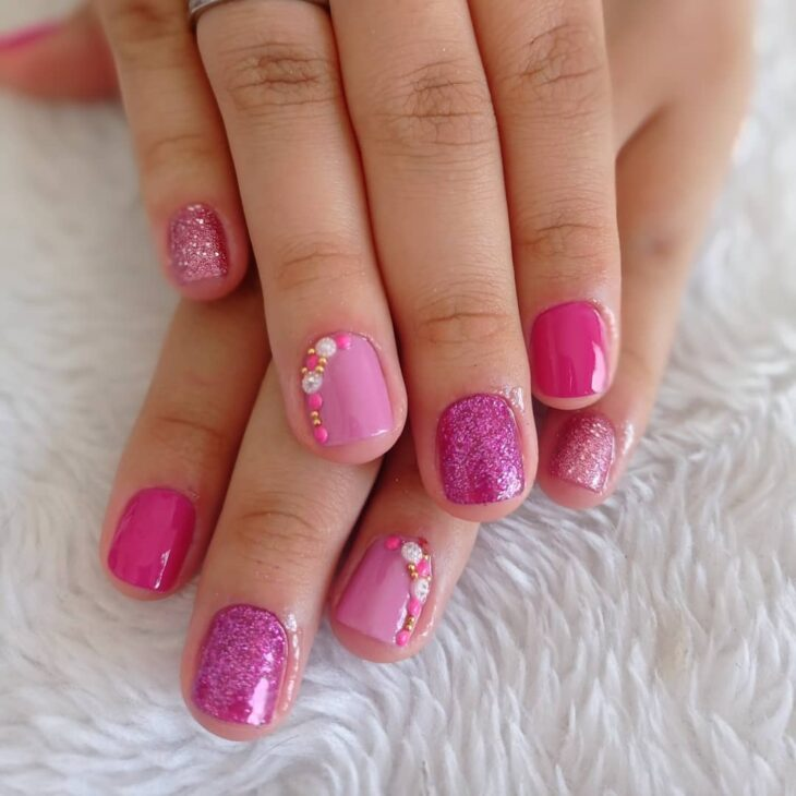 90 unhas decoradas rosa que unem delicadeza e estilo - 28
