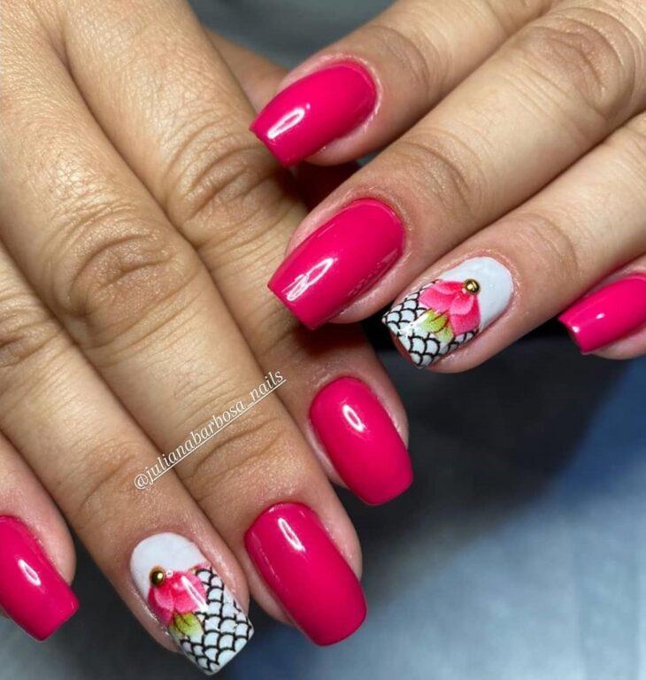 90 unhas decoradas rosa que unem delicadeza e estilo - 42