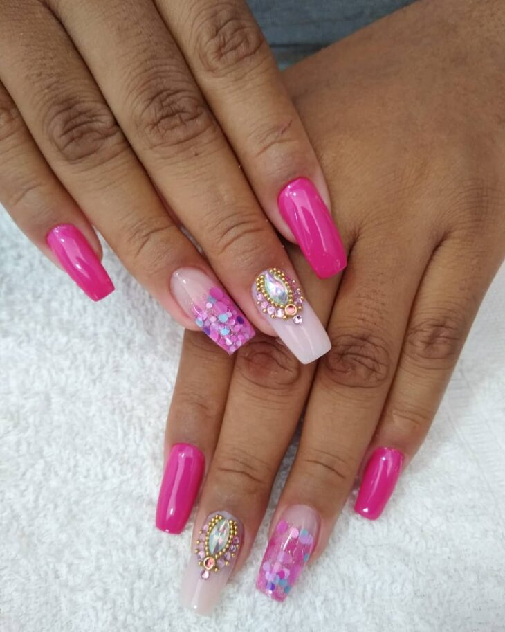 90 unhas decoradas rosa que unem delicadeza e estilo - 48