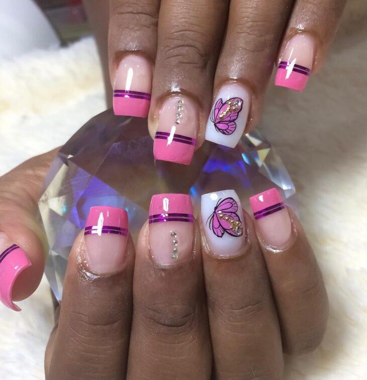 90 unhas decoradas rosa que unem delicadeza e estilo - 50