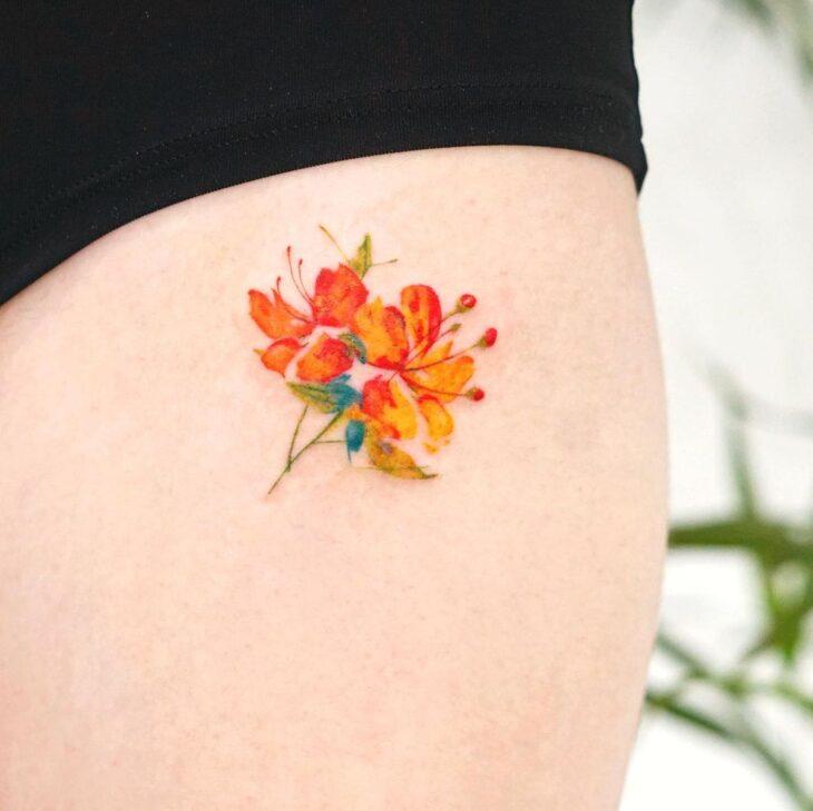 Tatuagem de flor pequena 64