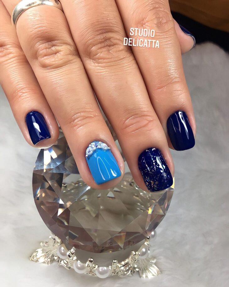 unhas decoradas azul 57