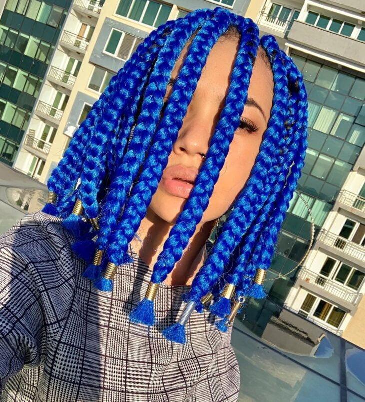 box braids azul 36