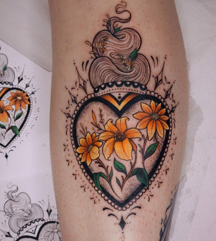 100 ideias encantadoras de tatuagem de coração para transbordar amor - 5