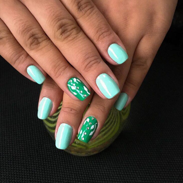 unhas decoradas verde 39