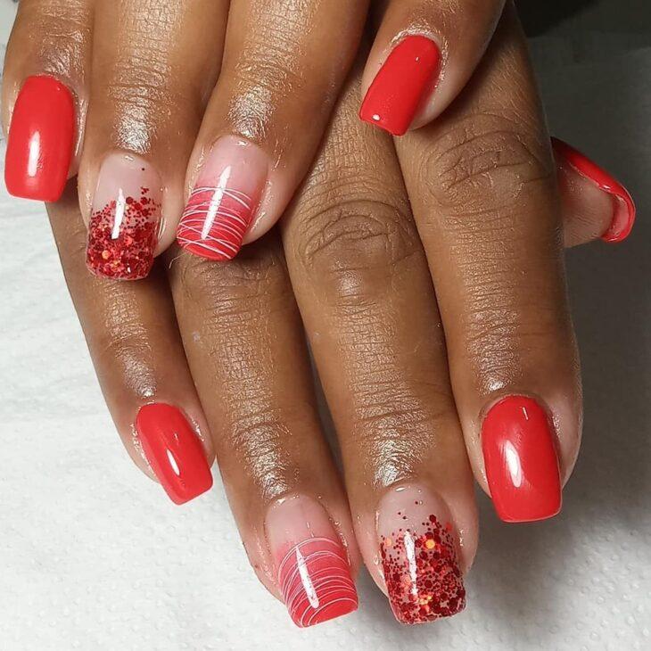 unhas vermelhas com glitter 10