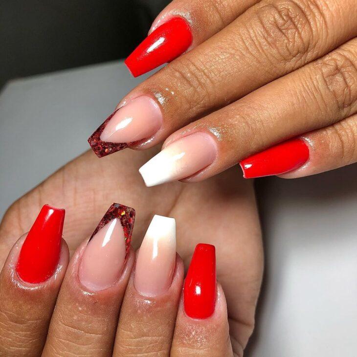 unhas vermelhas com glitter 4