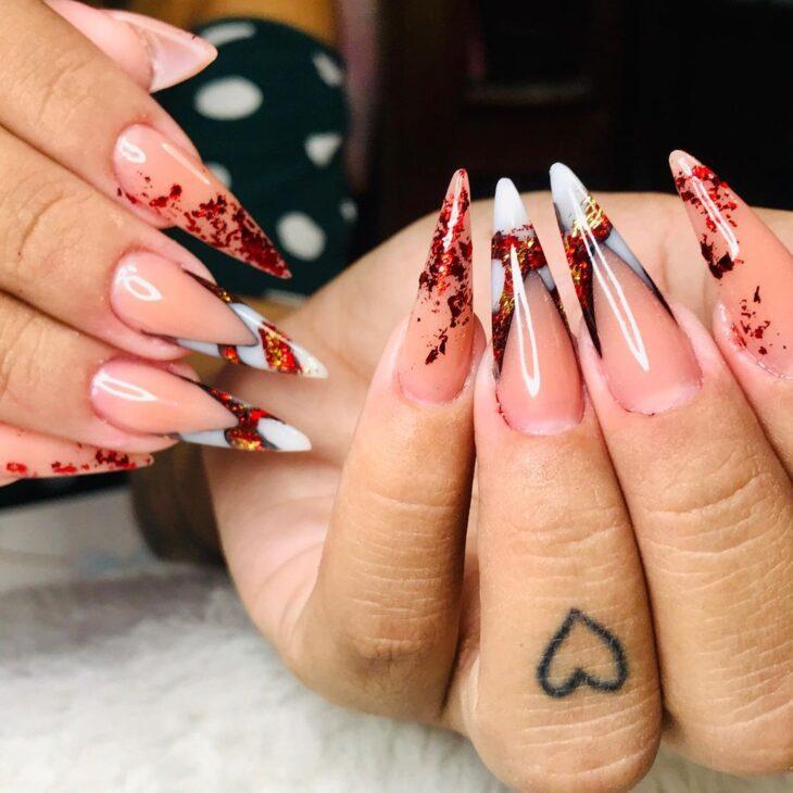 unhas vermelhas com glitter 13