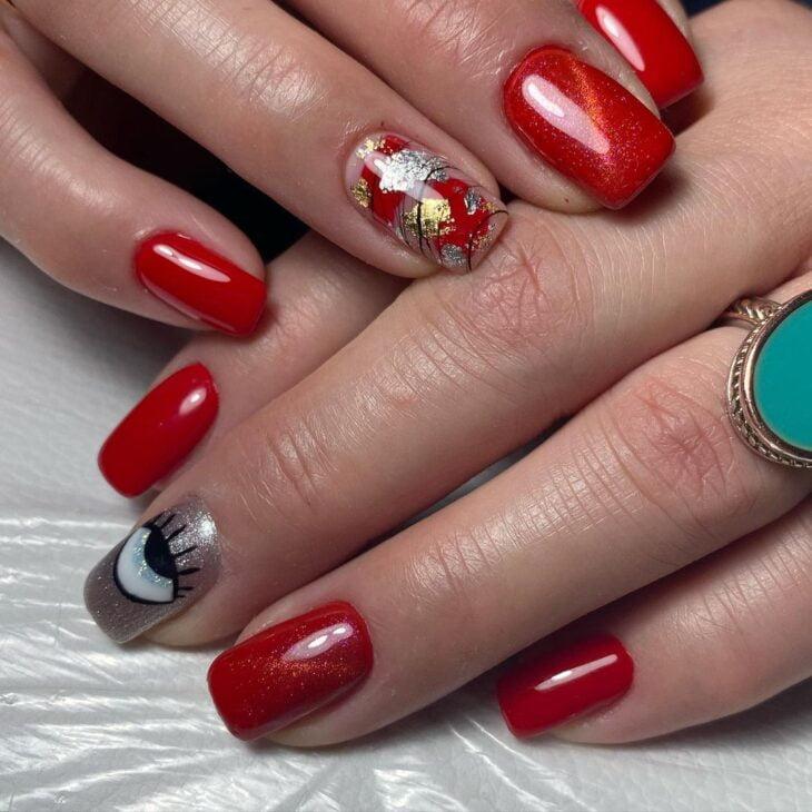 unhas vermelhas com glitter 15