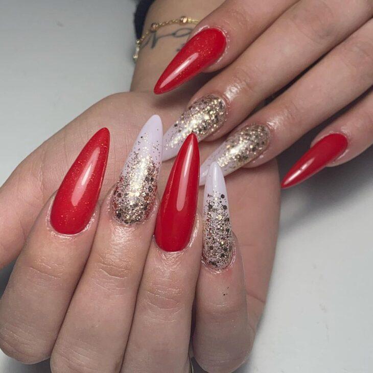 unhas vermelhas com glitter 20