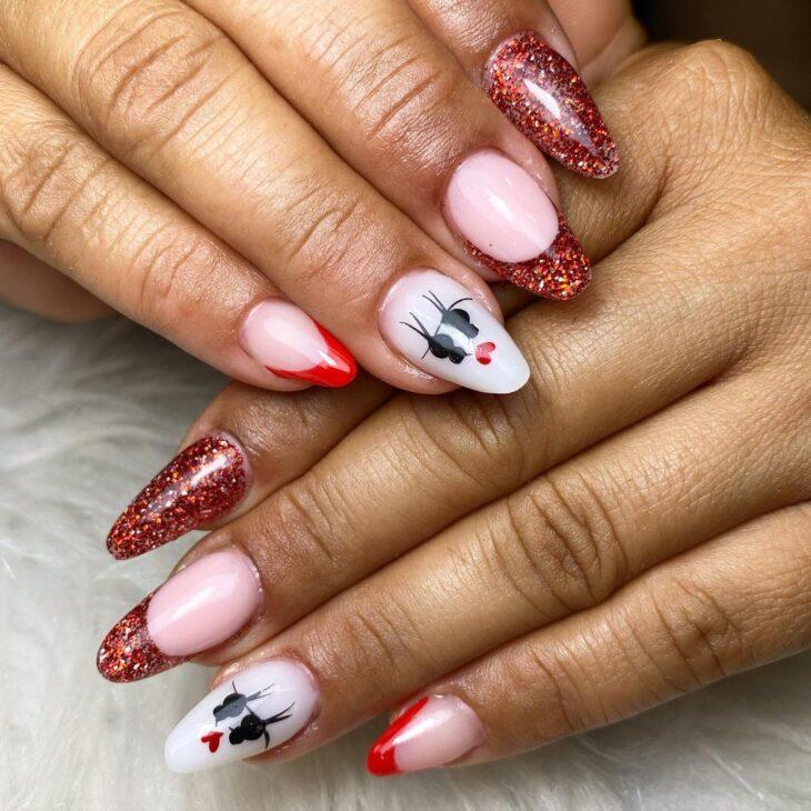 unhas vermelhas com glitter 26