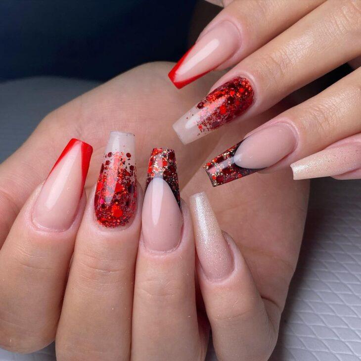 unhas vermelhas com glitter 6