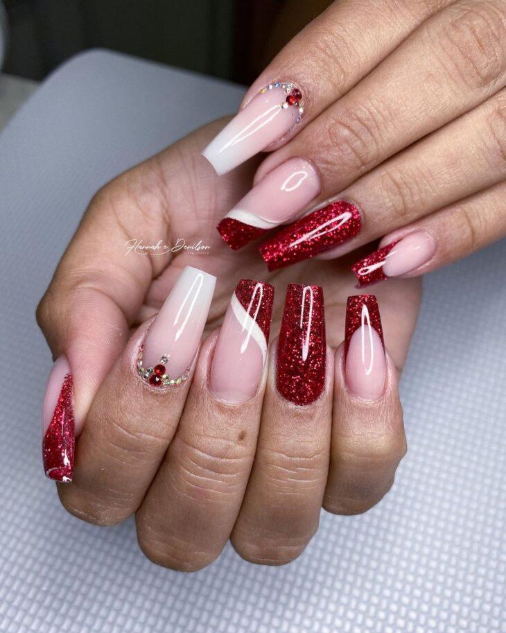 unhas vermelhas com glitter 38