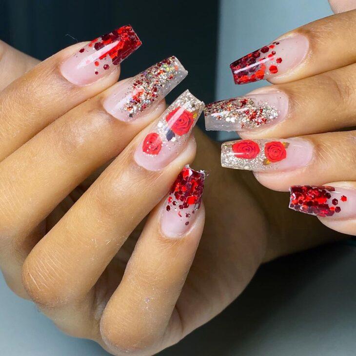 unhas vermelhas com glitter 44