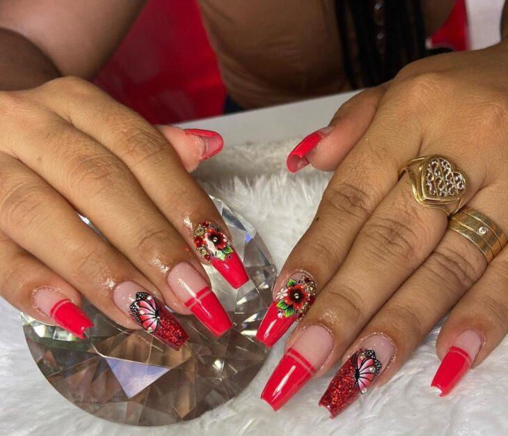 unhas vermelhas com glitter 51