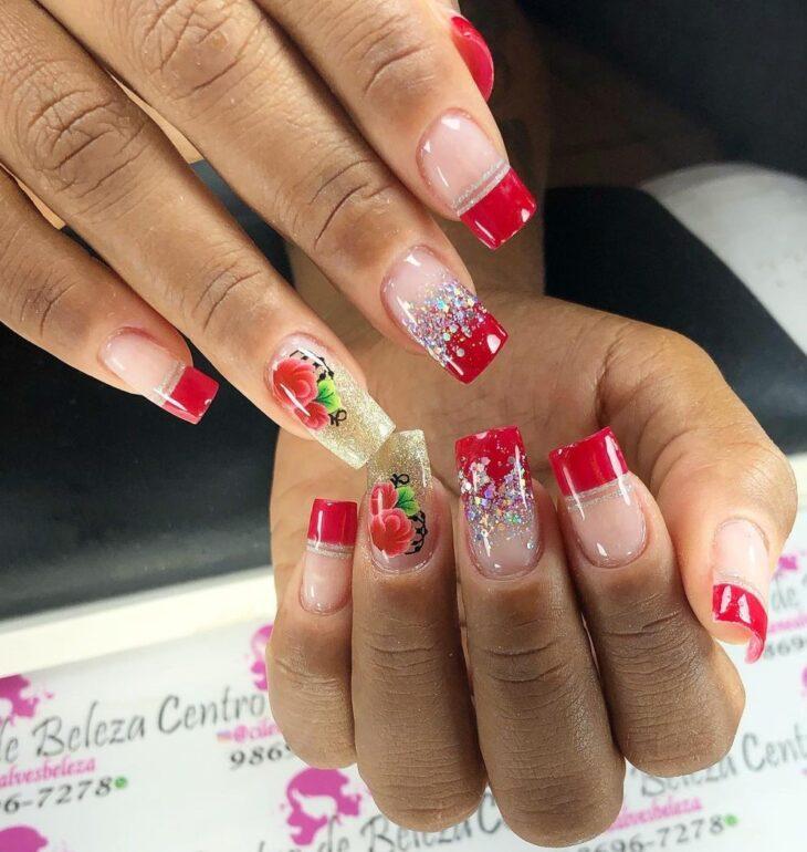 unhas vermelhas com glitter 56