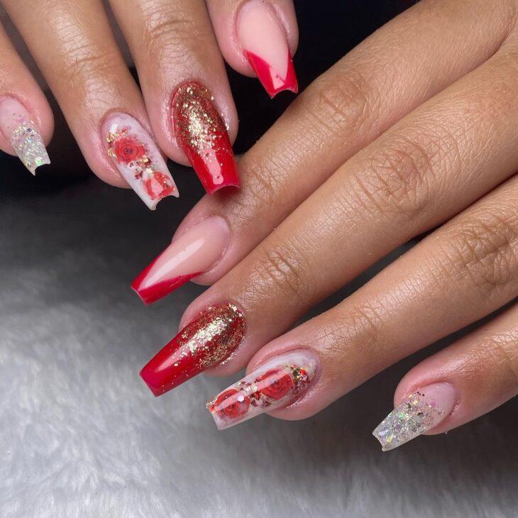 unhas vermelhas com glitter 9