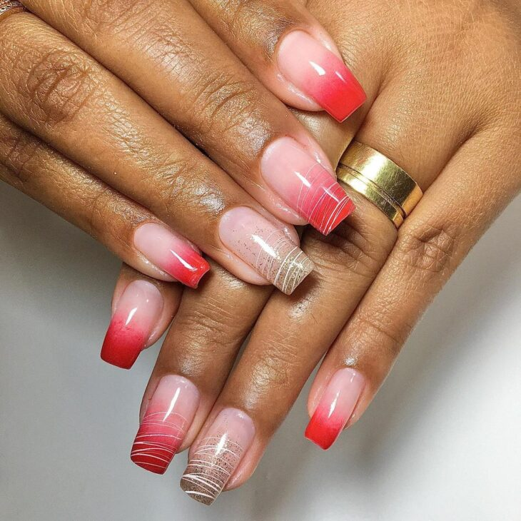 unhas vermelhas com glitter 12
